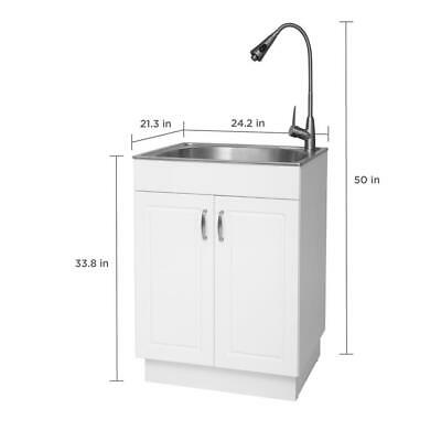 Glacier Bay All-in-one 24.2 X21.3 X33.8 Stainless Steel Laundry Sink Cabinet