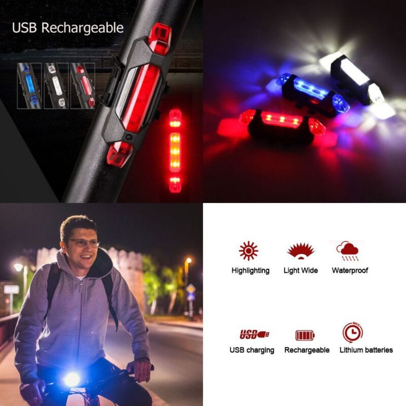 USB Rechargeable Cycling 5LED Bike Bicycle Tail Warning Light Rear Safety Lamps