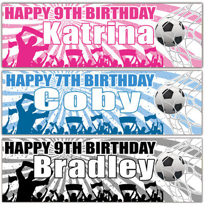 2 personalised birthday banner football children adults party poster decoration