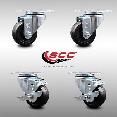 Ss Hard Rubber Swivel Caster Set Of 4 W3 Wheels - 2 Wbrakes