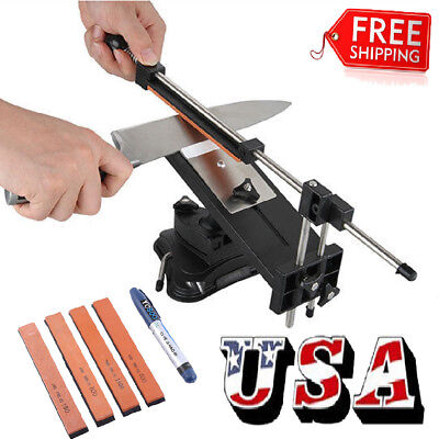 Professional Kitchen Sharpening Knife Sharpener Tool System Fix Angle   4 Stones