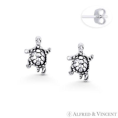 Swimming Baby Turtle Sea Life Animal Charm Stud Earrings in .925 Sterling Silver