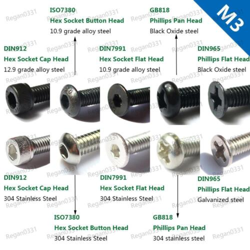 50/100pc M3 Hex Socket Cap head Button head Flat head Pan head Metric Screw Bolt