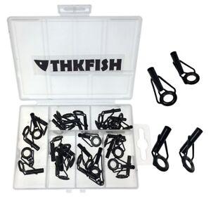 30Pcs Black Fishing Rod Guides Top Tips Repair Kit Fishing Rod Replacement Part