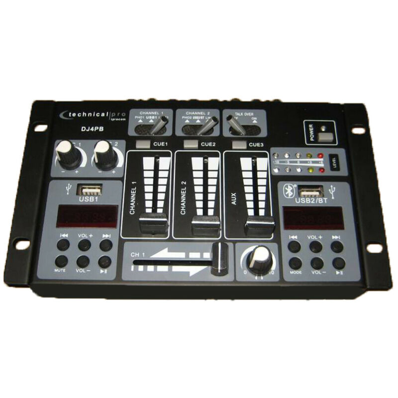 Technical Pro Professional 2 Channel USB Bluetooth DJ Mixer Controller w Aux I/P