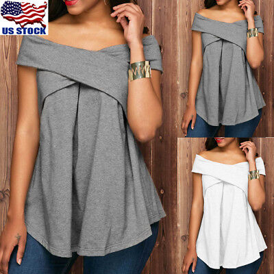 Womens Sexy Boat Neck Short Sleeve T Shirt Tunic Tops Off Shoulder Summer Blouse