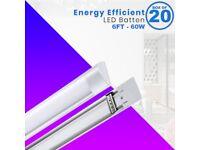Box of 20 LED Batten 6FT Super Daylight White Bright Linear Tube Light Workshop Warehouse