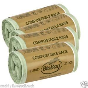 8 litre x 100 biobag compostable food waste caddy liner. Black Bedroom Furniture Sets. Home Design Ideas