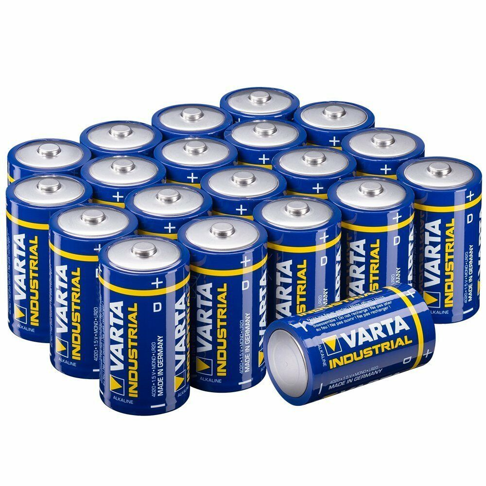 Varta Industrial Batterie D Mono Alkaline Batterien LR20 20er Pack Power DE