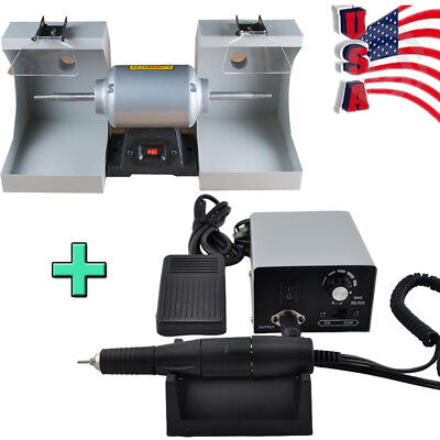 Dental Lab Polishing Lathe Polisher W Dust Hood Lighting Micro Motor Grinder