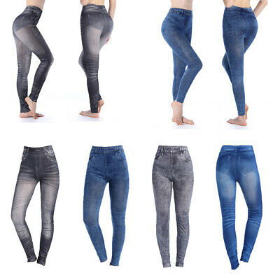 Womens Full Length Stretchy Denim Look Skinny Jeggings Leggings Pants Skinny DY