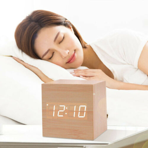 Wood Cube LED Alarm Voice Control Digital Desk Bedside Clock