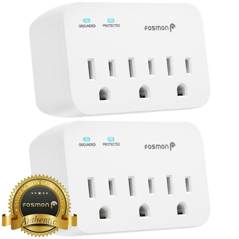 Fosmon [2 PACK][ETL] 3 Outlet 1200J Surge Protector Wall Tap Outlet Plug Adapter