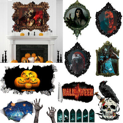 Diy Halloween Bedroom Decorations (PVC Removable Halloween Wall Stickers DIY Skull Decals Bedroom Home Wall)