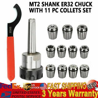 MT2 ER32 M10 Collet Set Shank Chuck Holder/&Spanner Spring shank+19pcs collect US