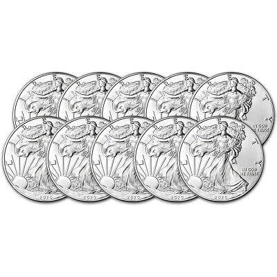 2020 American Silver Eagle 1 oz $1 - BU - Ten 10 Coins