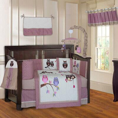 BabyFad 10 Piece Owl PInk Baby Girl Crib Bedding - Owl Crib Set