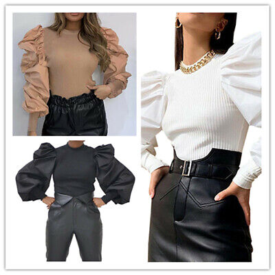 Ladies Puff Sleeve Pullover Fashion Tops Slim Ribbed Shirt Blouse Jumper Sweater
