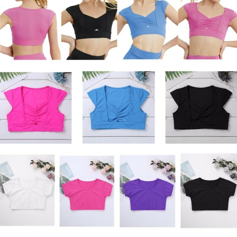 Girls Cap Sleeves Dance Crop Top Sparkly Sequins Party Daily Wear Summer Costume