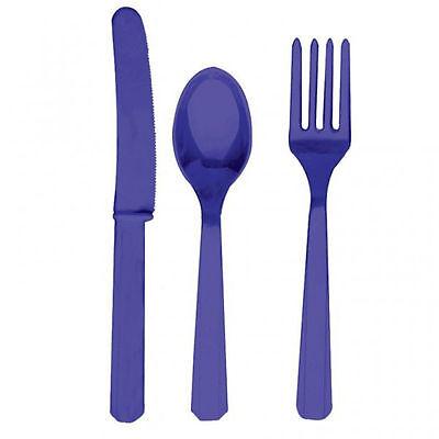 24 X Violett Kunststoff Besteckset Messer Gabeln Löffel Lavendel Einweg Geschirr