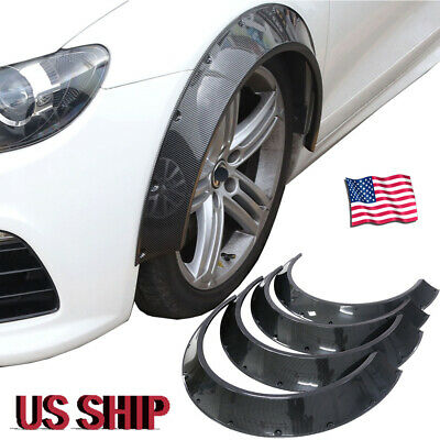 80mm+60mm ABS Carbon Fiber Style Car Fender Flares Wheel Arches 4Pcs Universal