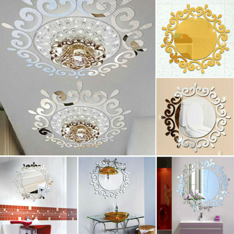 Mirror Tile Wall Sticker Decal Self Adhesive Room Bathroom D