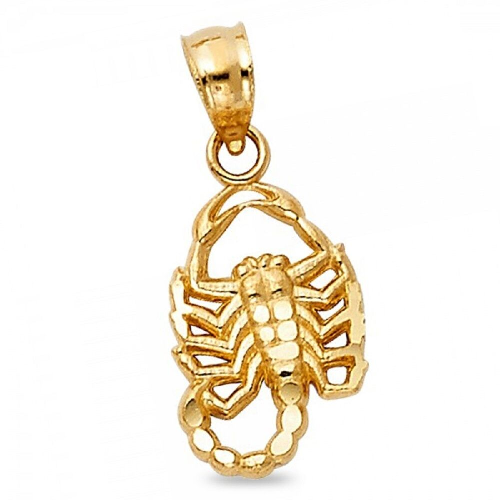 Solid 14k Yellow Gold Scorpion Pendant Zodiac Sign Charm Polished Unisex Style