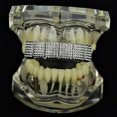 Iced Bling Hip Hop Grillz (Bling Grillz 6 Row Micropave Iced Silver Tone Top Upper Teeth Hip Hop Grills)