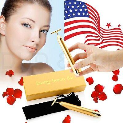 Bar 24K Golden Skin Care Anti-Aging Facial Massage Platinum Pulse Roller Beauty
