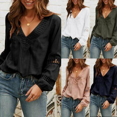 US Women Ladies Summer Lace Long Sleeve Blouse Casual Loose T-Shirt Tops (Top Hot Ladies)