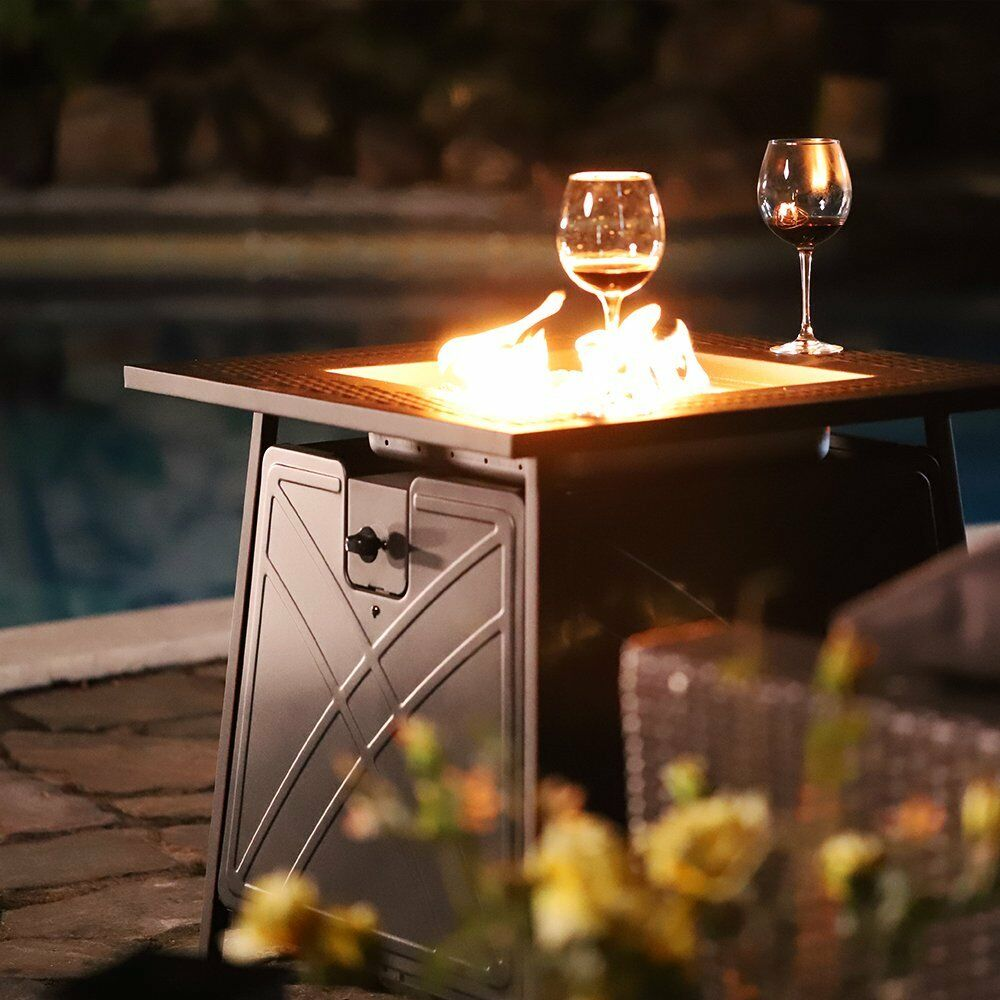 """28"""" Bali Outdoor Propane Fire Pit Patio Heater Gas Table Square Fireplace Blue Glass"""
