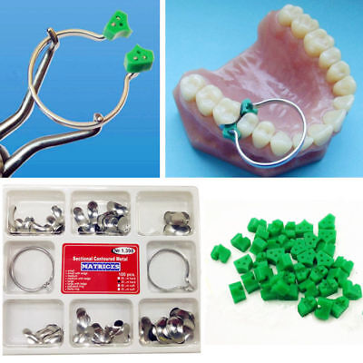 1 Set Dental Sectional Contoured Matrices Matrix Ring 40 Pcs Add-on Wedges