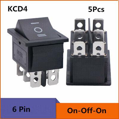 5x Ac 16a250v Dpdt 6 Pins 3 Position Onoffon Car Boat Black Rocker Switch
