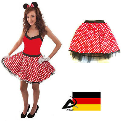Tütü Tüllrock Ballettkleid Damen Frauen 2 Lagen Kostüm Fasching Polka Punkt Rot