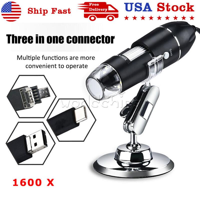 1600X 8LED Digital USB Handheld Microscope Endoscope Magnifier Camera 3 in 1 USB