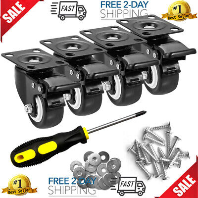 Set Of 4 Workbench Caster Kit Heavy Duty Retractable Work Bench Steel Wheel