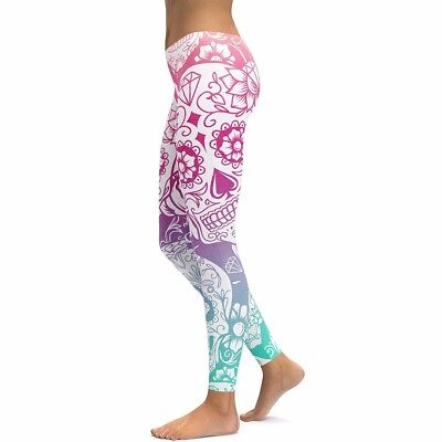 OMBRE Pink Blue Sugar Skull Leggings Tall & Curvy Day Of The Dead - Halloween - Halloween Leggings