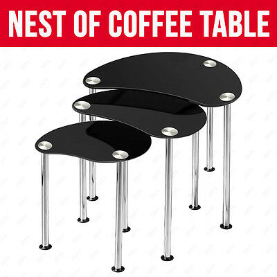 New Black Glass Oval Nest of 3 Coffee Table/ Side End Table with Chrome Legs