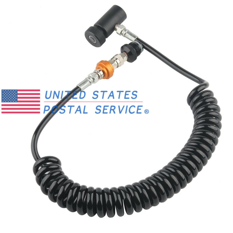 Paintball CO2 Fill Station Tank Refill Fill Valve Hose Remote Coil Control Black