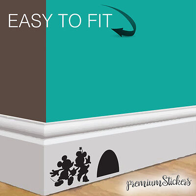 Mickey and Minnie Mouse Dance Wall Art Decor Black Vinyl Sticker Skirting Board