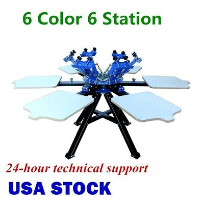 Us-6 Color 6 Station Silk Screen Printing Press Printer Double Rotary Equipment