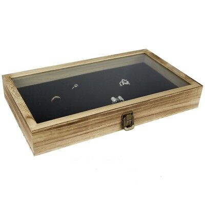 Large Wood Watch Box Glass Top Jewelry Ring Display Wooden Organizer Case (Wood Jewelry Display Case)