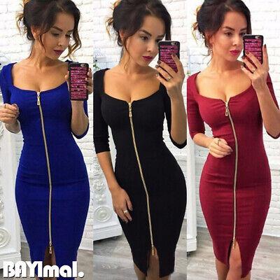 Women Zipper Long Sleeve Bodycon Dress Ladies Sexy Casual Party Plain Midi Dress