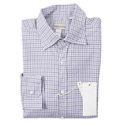 NWT $345 MASSIMO ALBA Gray-Blue Layered Check Cotton Shirt S Regular-Fit