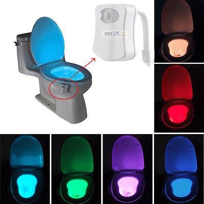 8 Colors Led Toilet Bathroom Night Light Human Motion Sensor Activated Seat Lamp