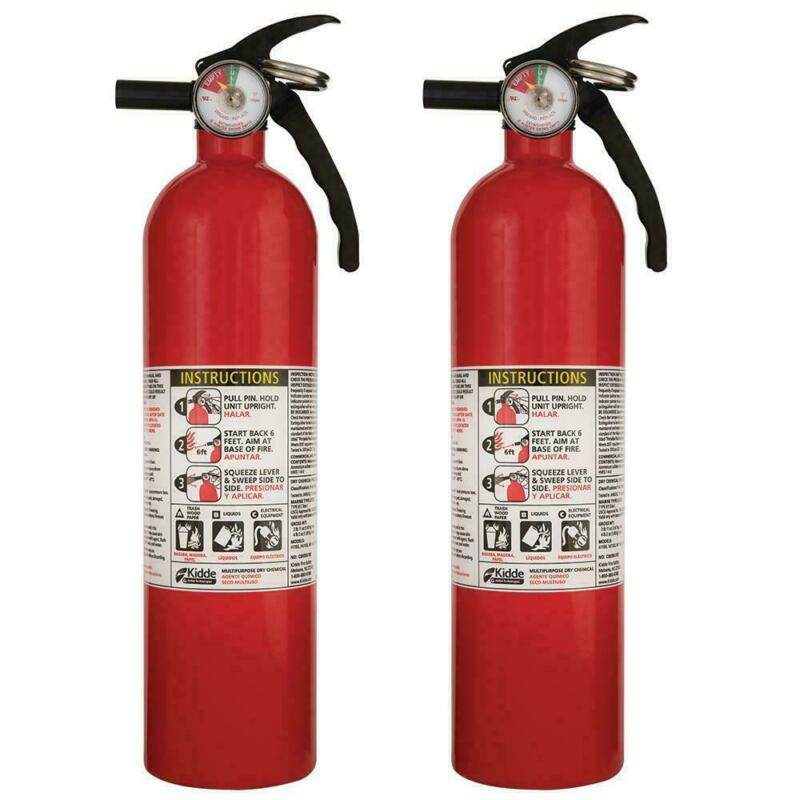 ABC Fire Extinguisher Home House A B C Work Multiple Use Kidde 3.9 Pound 2 PACK