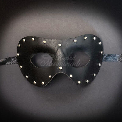 Black Leather Masquerade Mask for Men M33173 - Man Masquerade Masks