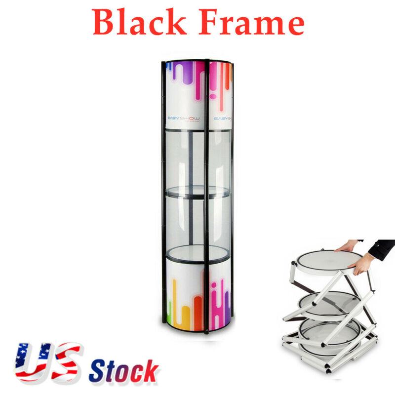 "81"" Round Portable Black Aluminum Spiral Tower Display Case Shelves Top Light"