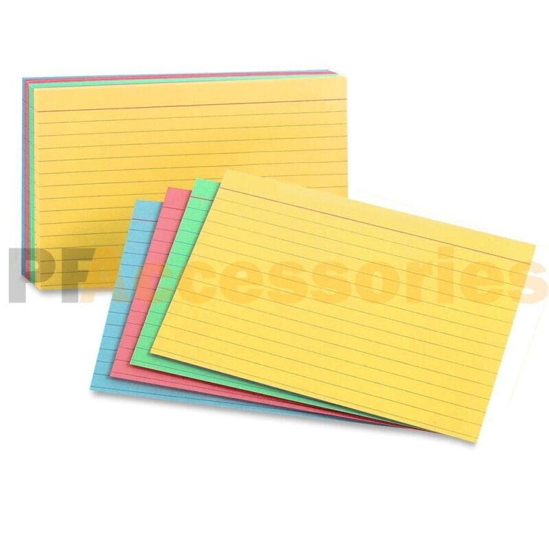 """100 Ct Ruled Front Blank Back Color Index Card Note Cards 3x5"""" inch Pack of 100"""