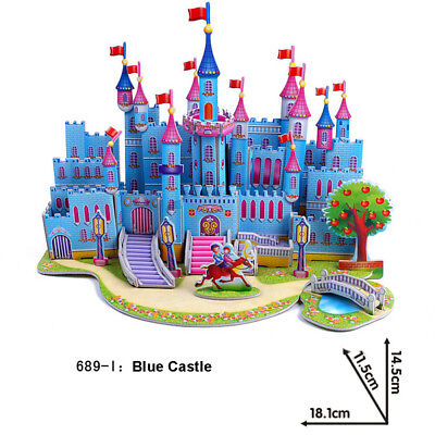3D Puzzle Paper Blue Castle Model Kids Educational Toys Xmas Christmas Gift